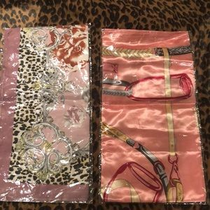 New in package - chain print silky scarves